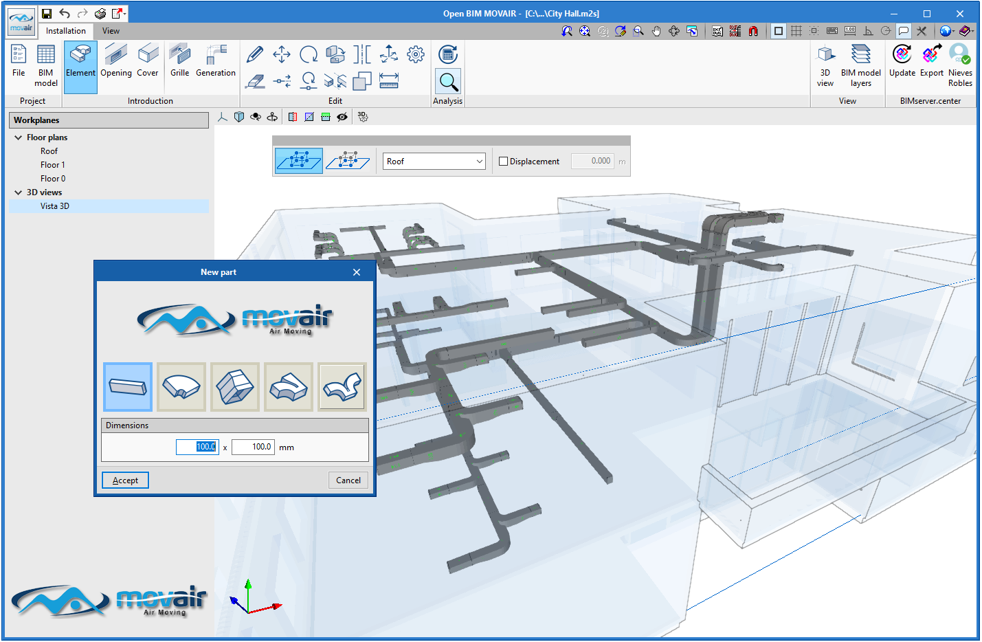 Open BIM MOVAIR. Parametric catalogue